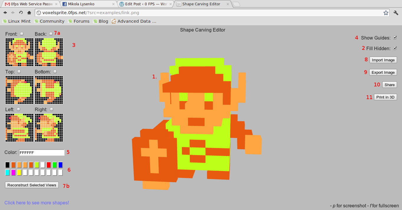 Turning 8 bit sprites into printable 3d models 0 fps 3d model editor