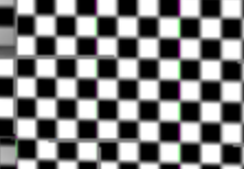 Texture tiling seams caused by incorrect LOD selection.  Note the grey bars between each texture.