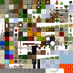 An example of a texture atlas for Minecraft.  (c) 2009 rhodox.